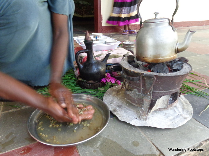Washing the raw coffee beans several times is step one of the traditional Ethiopian coffee ceremony.