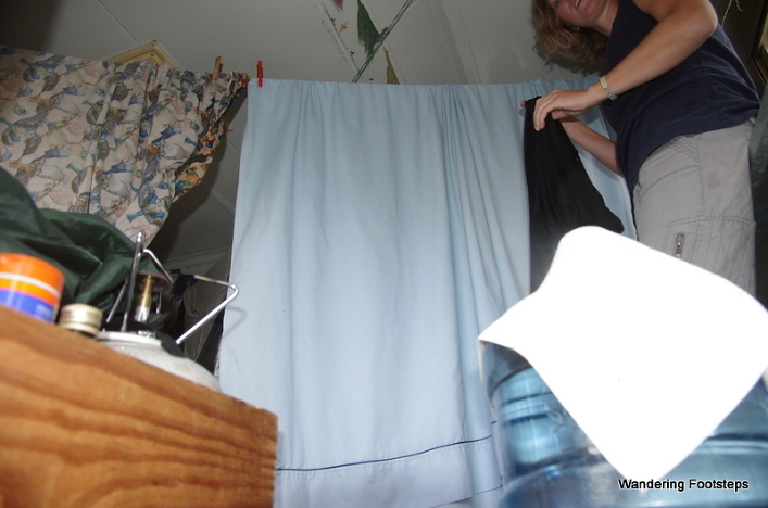 Trying to dry clothes inside the camper van.  You can