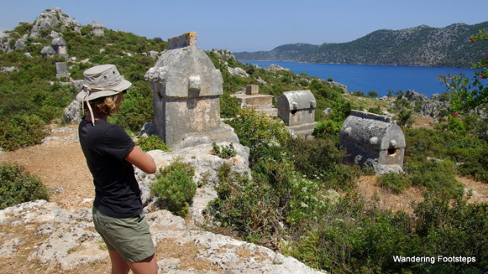 Admiring the Lycian tombs, and the view, near Kalekӧy.