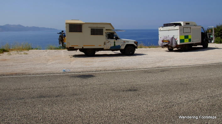 Two camper vans on the Lycian Way.