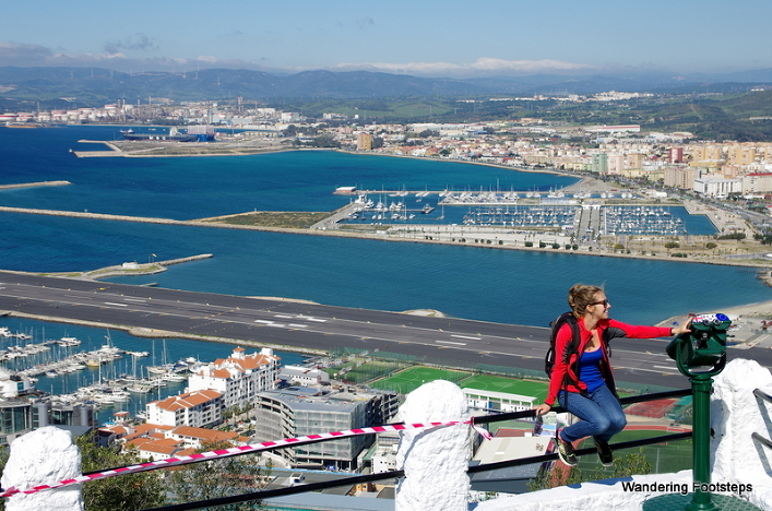 On the Rock of Gibraltar, the airport behind me.  We crossed it by bicycle to get into the city!