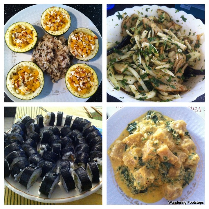Some of the meals I cooked - stuffed squash with wild rice; fennel and pear salad; sushi; and plantain gnocchi.