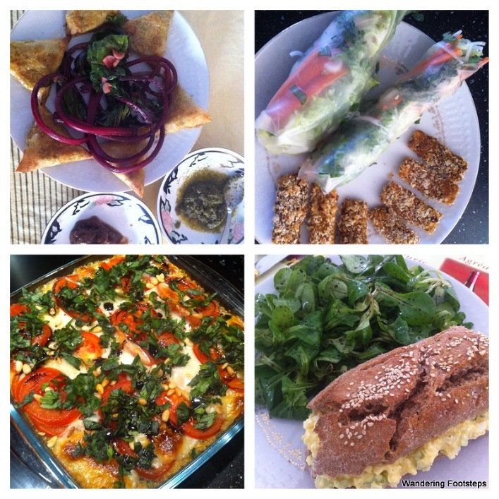 More meals - samosas and beet greens; spring rolls and breaded tofu; quinoa caprese bake; egg sandwich with homemade spelt bread.