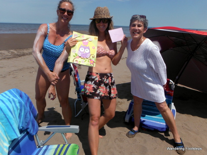 Birthday gifts on the beach!  Thanks, Christine and Matante!