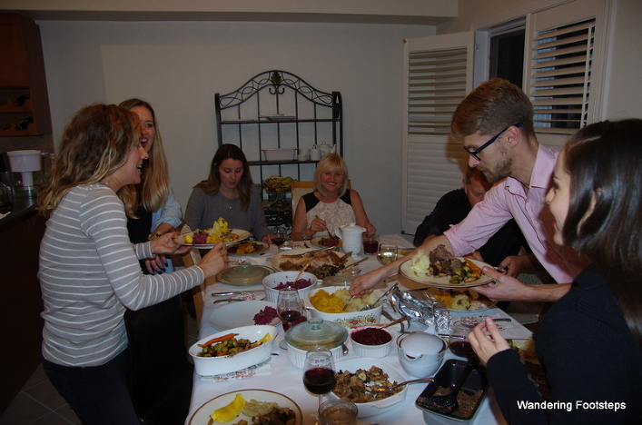 Thanksgiving dinner at the Sharples surrounded by family and friends.