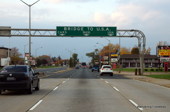 About to cross the bridge into the US at the Windsor/Detroit border.