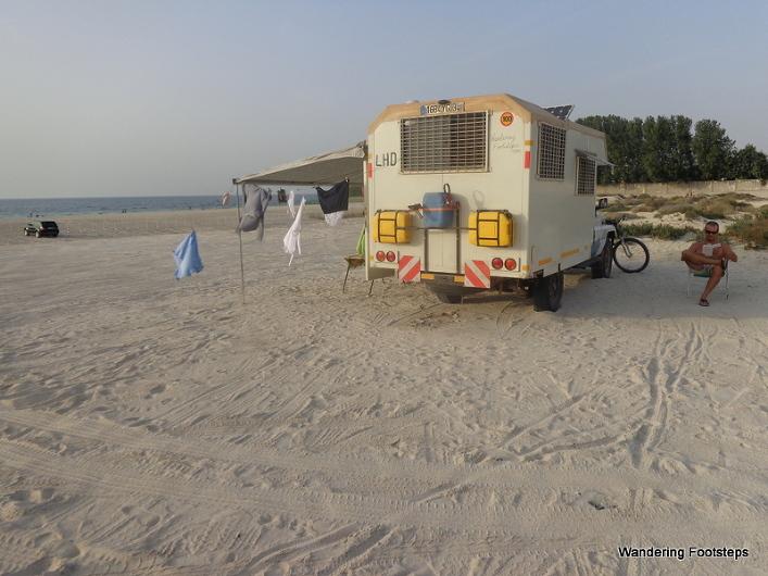 Enjoying the simple life at camped a public beach in Dubai.