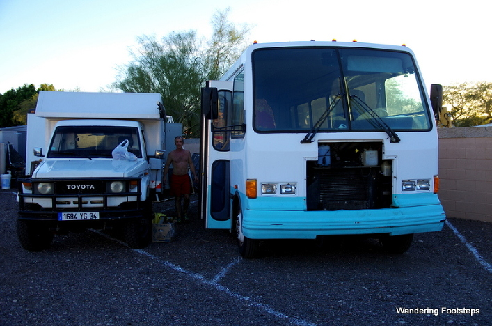 Our new Big Blue Bus next to our now-sold but much-beloved Totoyaya.
